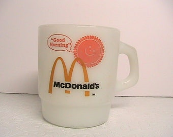 McDonalds Coffee Cup. Vintage McDonalds Fire King Coffee Cup