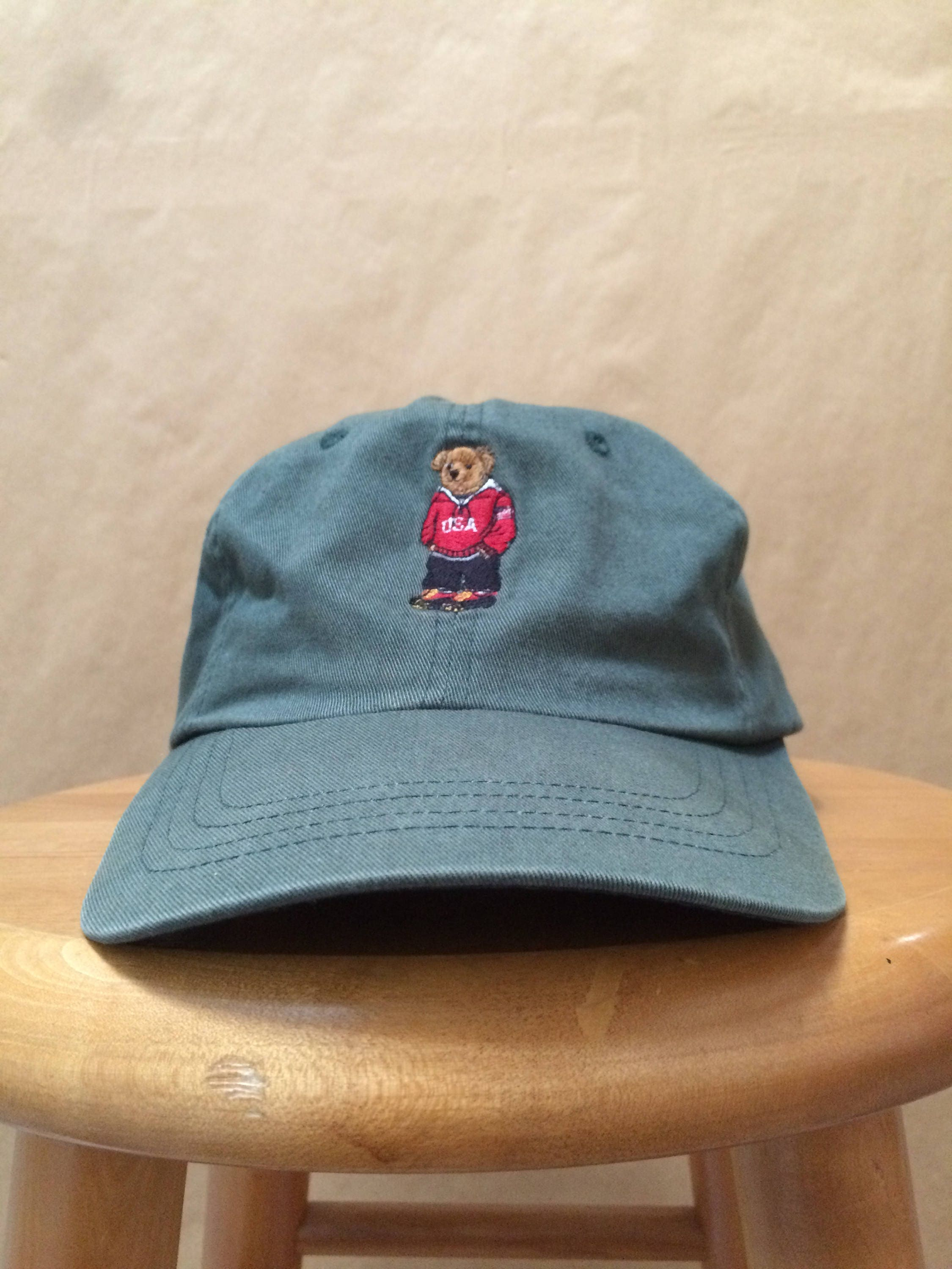 45422da559e Vintage Ralph Lauren Polo Sport Polo Bear Hat Snow Beach P Wing Strap Back  1990 s