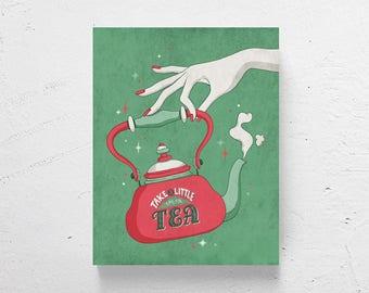 Tea print / retro kitchen art, kitchen art, tea art, modern kitchen art, tea pot, tea sign