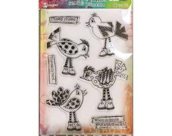 Dylusions by Dyan Reaveley - HOLY BIRDS - DYZ55143 Stamp & Stencil set 1.cc02