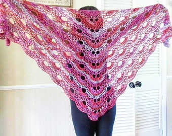 Crochet Rosé Shawl/Beach Wrap Ready to be shipped today