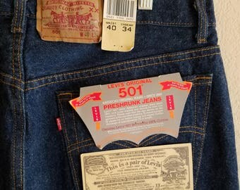 501 Levis Jeans Denim 1987 Made in USA 40x34 Americas Original Button Fly Deadstock Big and Tall Menswear