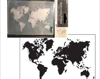 Embossing folder World Map by Darice - Cuttlebug Big Shot & Universal machine compatible card making and scrapbooking