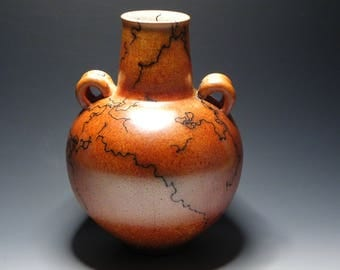 Raku/Horsehair Raku/Burnt Orange/Ceramic/Vase/Handmade/OOAK