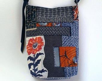 Adjustable Shoulder/Crossbody Bag with Sashiko-Inspired Stitching