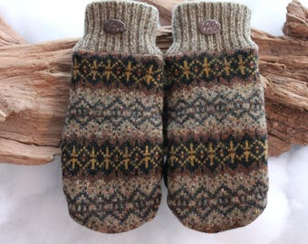 Wool sweater mittens lined with fleece with Lake Superior rock buttons in brown, black, and yellow, Valentines Day, birthday, coworker gift