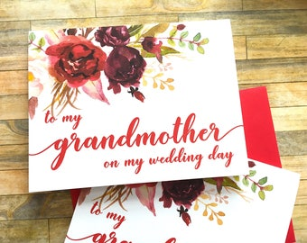To my Grandmother on my Wedding Day Card - Card for Grandma - Grandparents - Burgandy Watercolor Card for Nana - SANGRIA