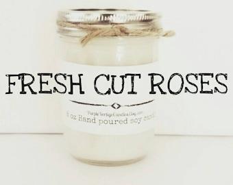 Fresh Cut Roses Soy Candle,  8 oz soy Candle, Rose, Roses, Rose Candle, Floral candle, Floral Scent, Soy Candle, Vegan, Soy, Rose Bouquet