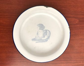 Vintage Baby Enamel Plate-Shipping Included