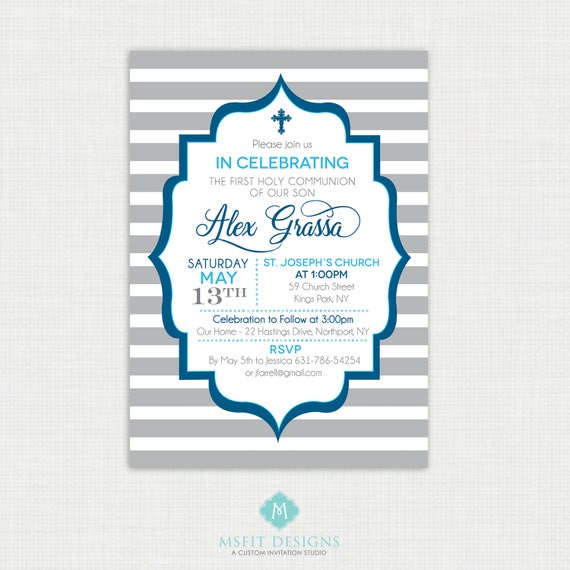 Printable Communion Invitation- Boy Baptism Invitation - Baby Dedication, First Communion, Confirmation, Christening