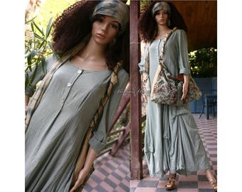 Beatrice Jade - Romantic Hand Dyed Long Linen Dress Lagenlook Clothing Made to Order