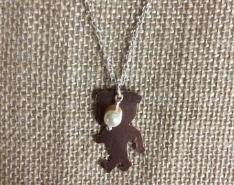 Copper Bulldog necklace, Mississippi State mascot, bulldog charm