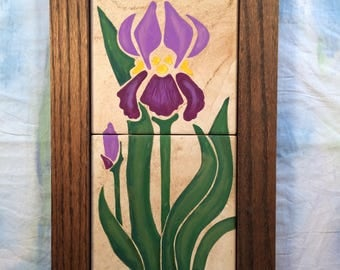 Art Nouveau Hand Painted Iris Art Tile with Hand Made Oak Tile, Purple Iris Painted on Tile