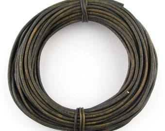 Green Military Distressed Round Leather Cord 2mm - 10 Feet