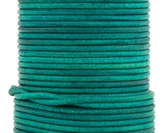 Xsotica® Turquoise Natural Dye Round Leather Cord 2mm - 10 Feet