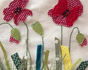 Poppy field textile art