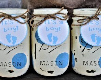 Baby Boy Shower Mason Jars, Baby Shower Centerpieces, Shabby Chic Mason  Jars, Painted