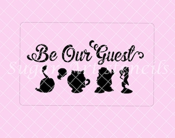 Be our guest beauty Beast cake stencil  BB02