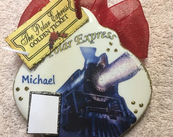 Polar express personalized with picture double sided ornament