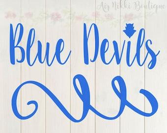 Blue Devils, SVG, PNG, DXF files, instant download