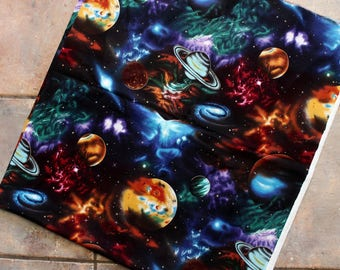 Stargazers Cotton Fabric-Outer Space-Sifi-Starwars-Planets-Colorful-Screenprint-Galaxy-Nebula-Solar System-Mystic-Cosmic-Universe-Material