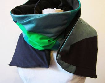 scarf reversible green cotton jersey and velvet