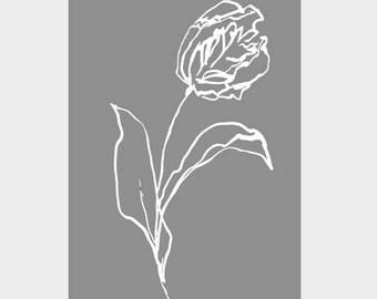 A3 Tulip Poster | White Ink & Dark Grey | Wall Art Grey | Botanical Prints