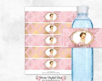 Water Bottle Labels Blush Pink & Gold Damask   Light Skin Tone Princess Tulle Dress   Digital Instant Download