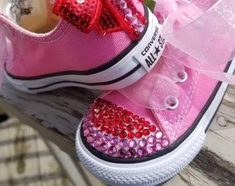 TODDLER Rhinestone Bling Wedding Prom Formal Dance Converse Chuck Taylors Shoes
