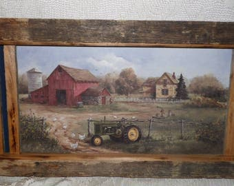 Vintage Farm Barn Tractor Chickens Country Scene Rustic Wood Frame Picture