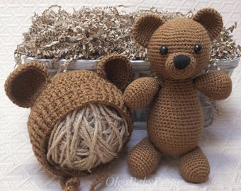 Teddy Bear newborn and bonnet set PHOTO PROP Mini Bear crochet Bonnet props Crochet props Stuffed Toy Soft Toy Amigurumi Toy knit