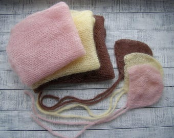 Knit wraps and bonnet sets mohair wrap photo props yellow pink brown knit outfit newborn photo outfit  baby mohair wrap