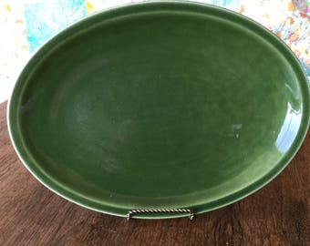 "Paden City Pottery, oval green platter, 11 1/2"" X 8 1/2"""