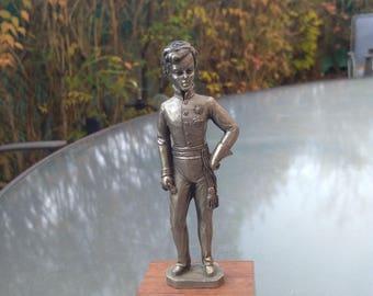 French vintage sculpture Duc duke of Reichstadt 1811 silver patina metal sculpture man boy figurine sparrow on stone
