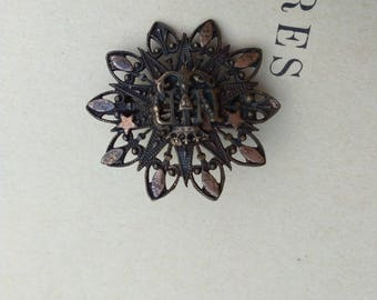 French Antique notre dame Lourdes brooch solid bronze ornate lys flower crown star religious medal brooch ornate crown military symbol royal