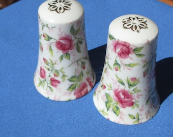 Vintage Lefton  Pink Rose Hand Painted Salt & Pepper Shakers Need New Stoppers