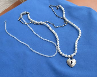 Retro Heart Key Hole  Broken Three Strand Faux Pearl Clear Beads Chain Necklace  Repair Repurpose