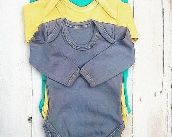 Organic Cotton Long Sleeve Baby Grow Set   0-12m Set   Hand Dyed By Hazel Tree   Grey / Turquoise / Yellow   Baby Boy Gift Set