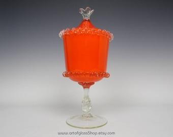 Italian Empoli orange pedestal glass candy jar/trinket box