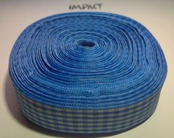 One metre of blue tiles, 20 mm satin ribbon.
