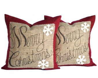 Two 'Merry Christmas' Pillow covers, holiday pillows, Christmas Pillow, decorative pillow, cushion, Christmas decoration