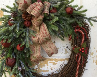 Rustic Christmas Wreath for Front Door, Primitive Wreath, Candy Cane Wreath