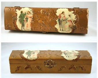 SALE Antique Celluloid Covered Glove Box, AS IS, Victorian Celluloid Jewelry Box, Courting Couples, Cherub, Gold Hinged Glove Box, Vanity Dr