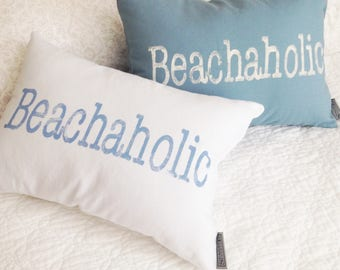 Beachaholic Pillow - beach house decor, beach house pillow, beach lover, beach gift, nautical pillow, beach decor