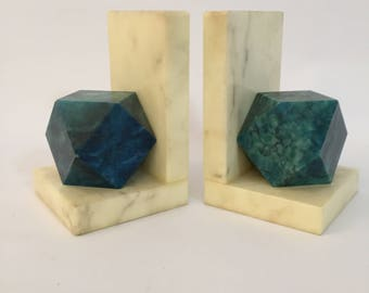 Marble Polyhedron Bookends