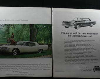2 Vintage Magazine Ads, Lincoln Continental & Studebaker, VW Bug, Volkswagen, Automobile Ads, 1964, A-436