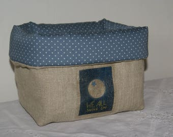 "Basket, organizer, storage textile quilted linen ""we all shine on"""