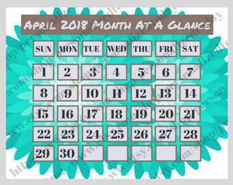 April 2018 Monthly Calendar Digital Printable File JPG PDF Bluegreen Flowers Big Boxes Month At A Glance Landscape Wide Calendar