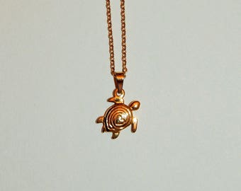 Gold turtle necklace etsy 18k gold plated surgical stainless steel turtle necklace aloadofball Image collections
