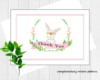 Thank You Notes | Baby Shower Thank You Cards | Personalized Stationery | Bunny Thank you Notes